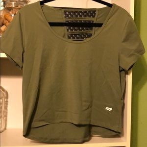 EUC Olive Green Crop Workout Top